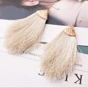 BOGO! Cream Fan Fringe Earrings